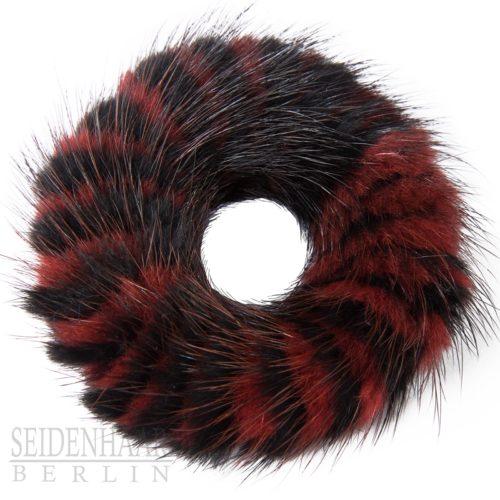 Fell Haargummiband - 2-farbig rot/schwarz